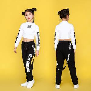 Kids Jazz Dance Costumes Hip Hop Dancing Clothes For Girls Long Sleeve Cotton Children Street Dance Clothing Stage Suits DN1767