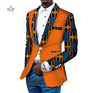 Men Blazer Slim Fit Fancy Blazers Jacket African Men Clothes Blazer Wedding Dress Dashiki Bazin Riche Ankara WYN145