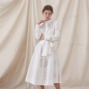 2019 new arrival special design side seam buttons open summer clothes women dress cotton hollow out lace patch work ladies dress