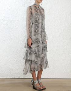 2019 new arrival summer snake printed chiffon dress with satin strapless skirt bottoming women dresses casual clothing