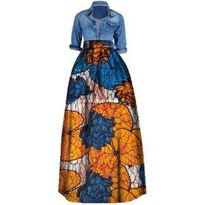 Hot selling african skirt clothes floral print women fashion dress women dress WY106