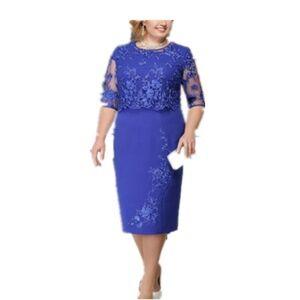Fashion Clothing Office Women Dresses Ladi Plus Size Lace Dress