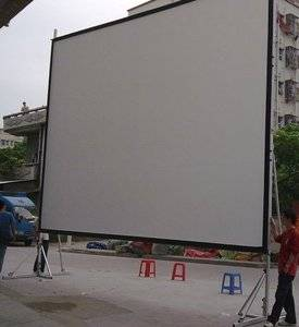 200 inch large outdoor projection rear front fast folding projector projection screen with drapes