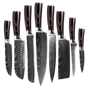 8 PCS Kitchen Knife Set Stainless Steel Blades Damascus Laser Chef Knife Sets Santoku Utility Paring Cooking Tools kitchen Gifts