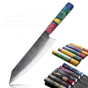 8 Inch Damascus Kitchen Knife Handmade VG10 Japanese Kiritsuke Kitchen Knife Gyuto Gift Box+Sheath Hot Damascus Steel Chef Knife