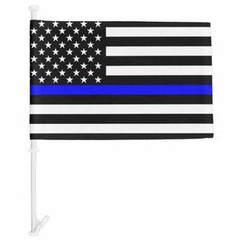 Thin Blue Line US Car Flag