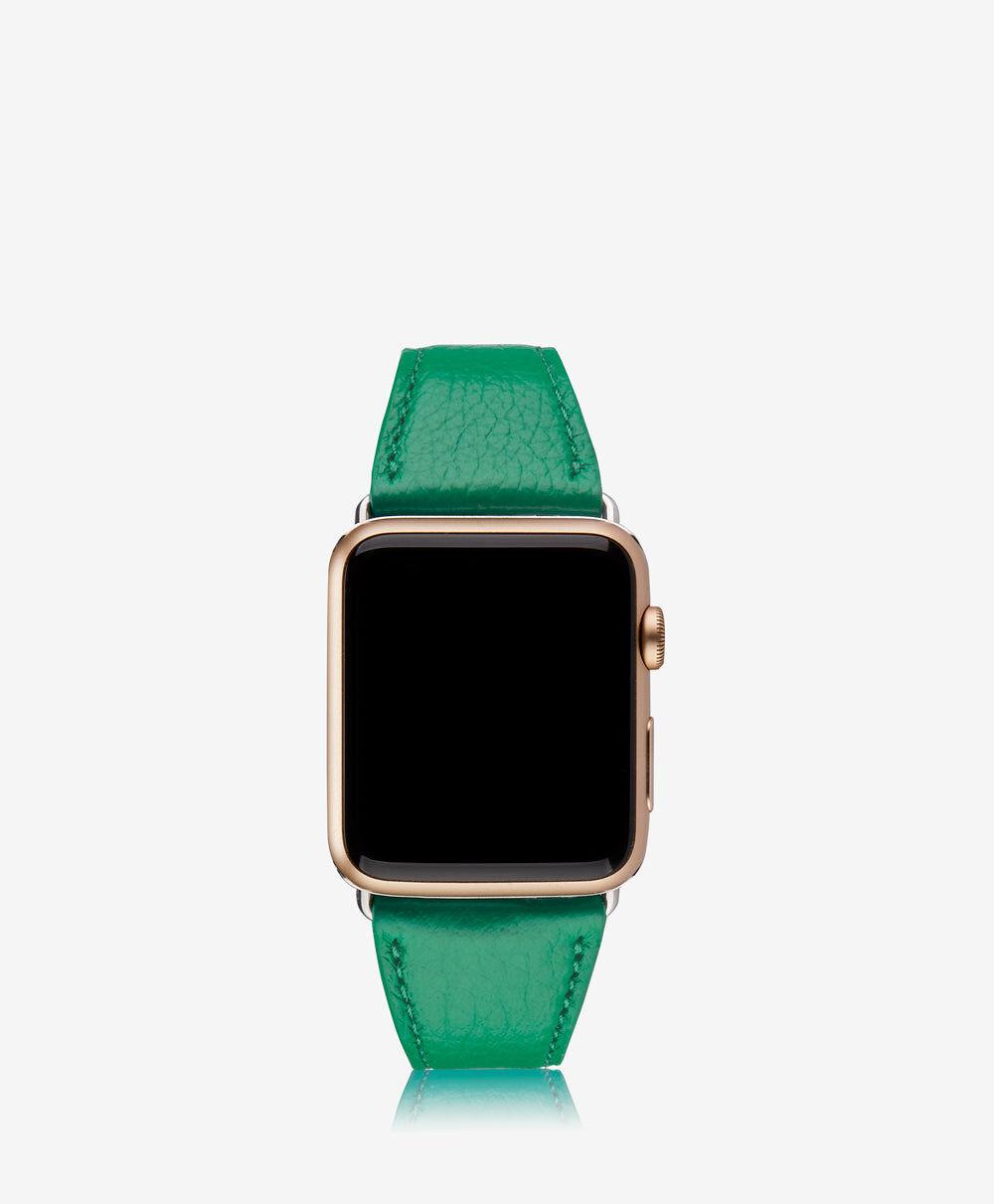 GiGi New York 42mm Apple Watch Band Jade Pebble Grain Leather