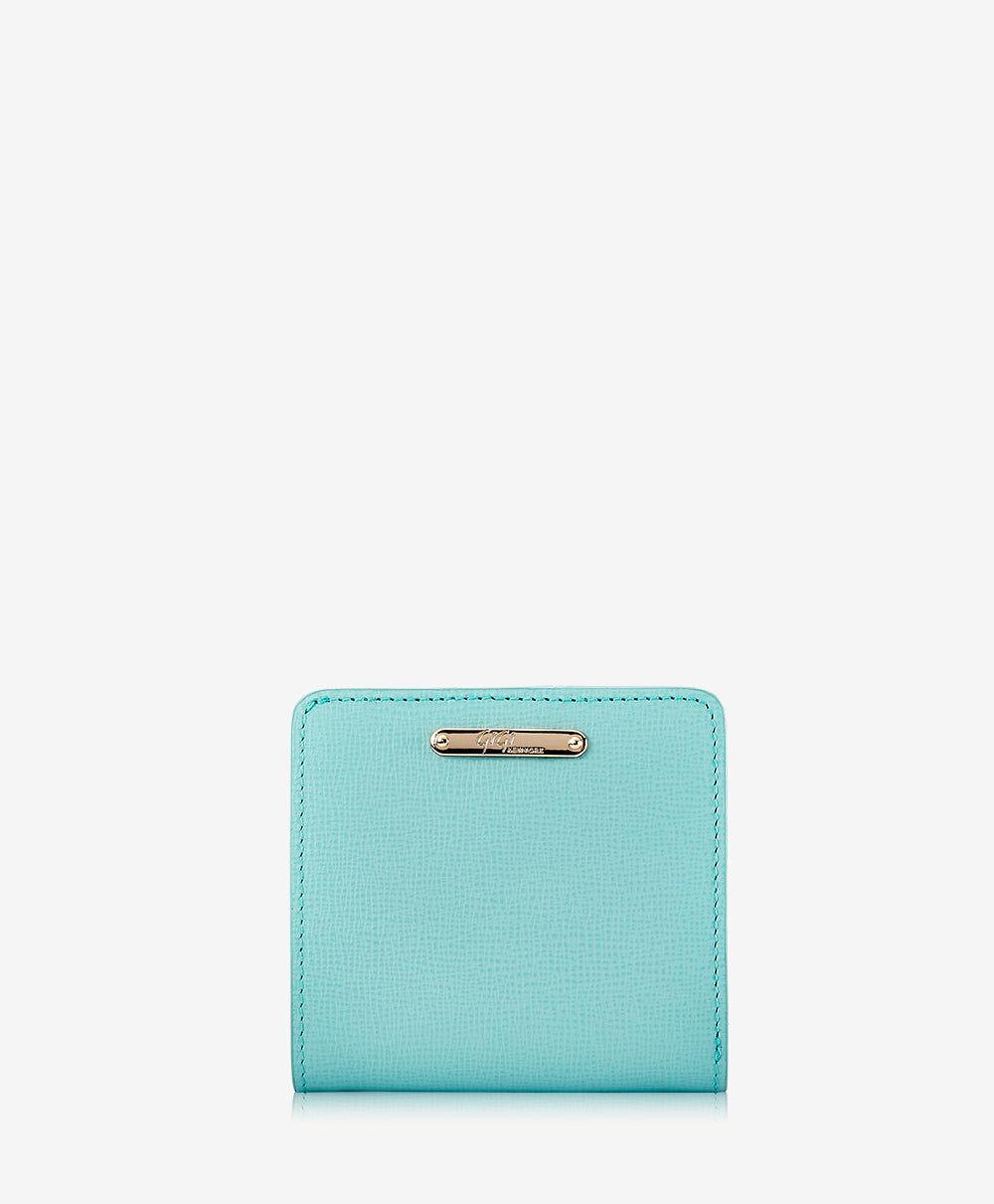 GiGi New York Mini Foldover Wallet Robin's Egg Blue Embossed