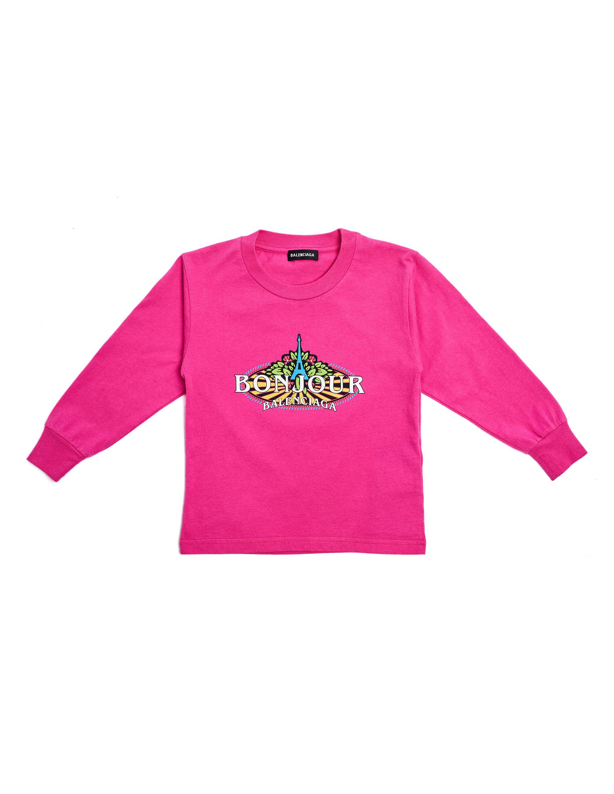 Balenciaga Kids Pink Cotton Bonjour L/S T-Shirt- male, 4; Pink