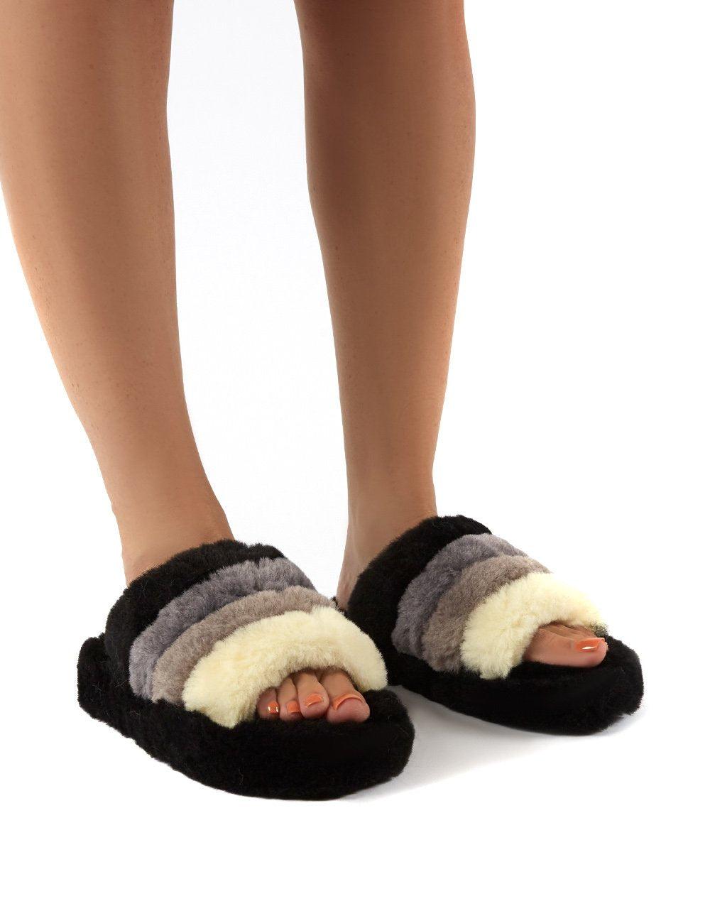 Public Desire US Sleepy Black Fluffy Sliders Faux Fur Slippers - US 5