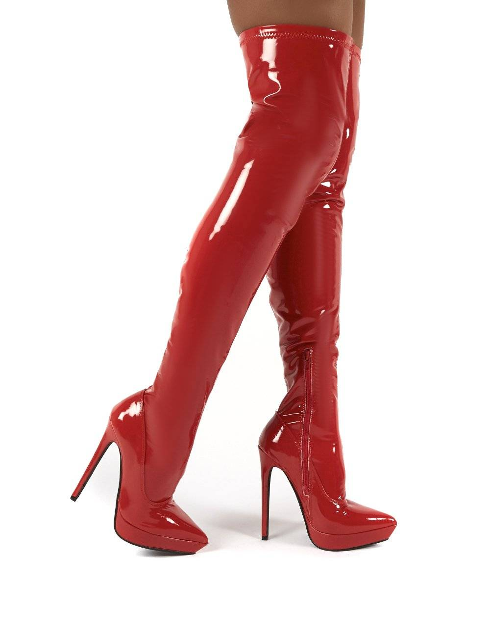 Public Desire US Forward Red Patent Stiletto Heeled Over the Knee Boots - US 6