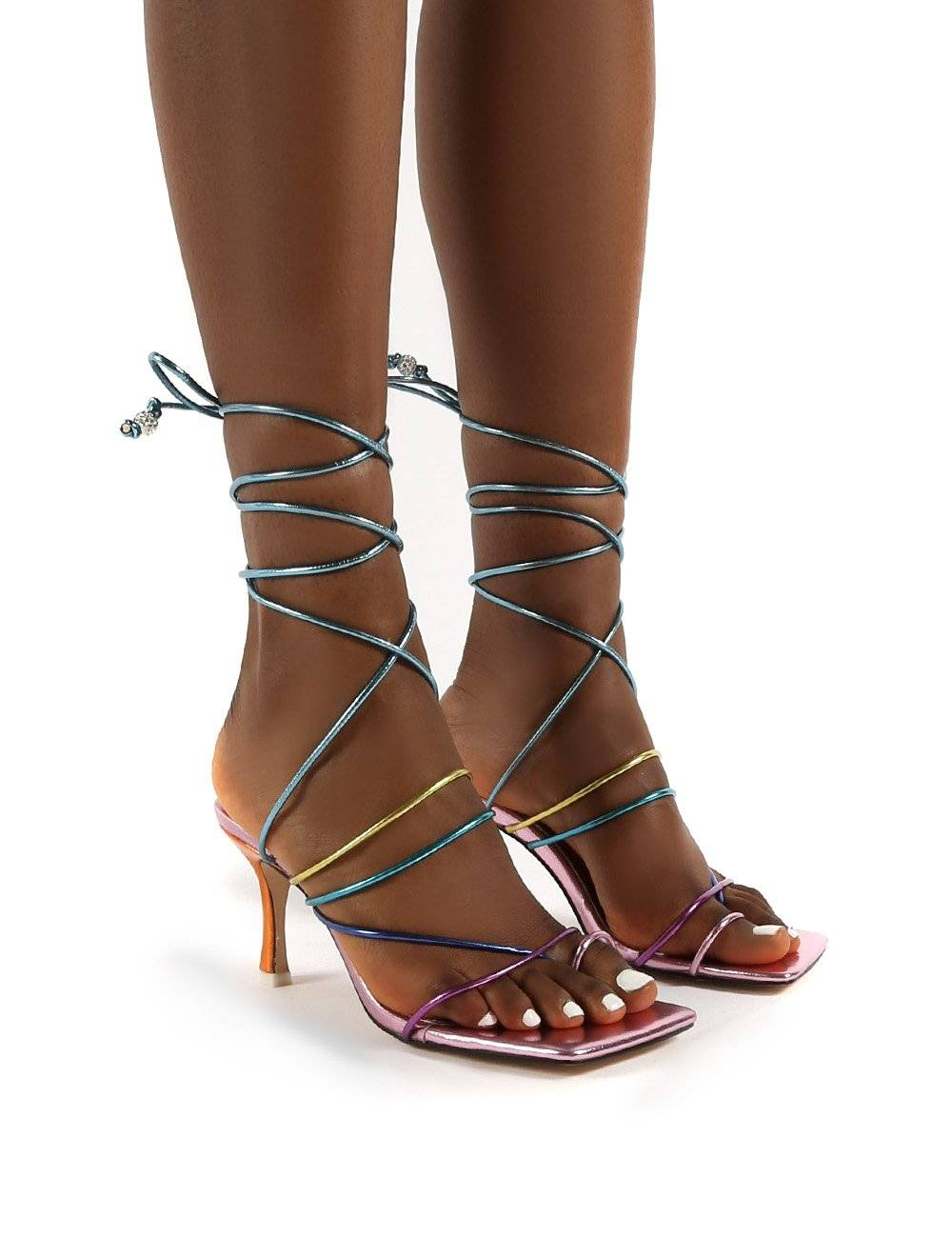 Public Desire US Cabo Multi Strappy Lace Up Square Toe Kitten Heels - US 6