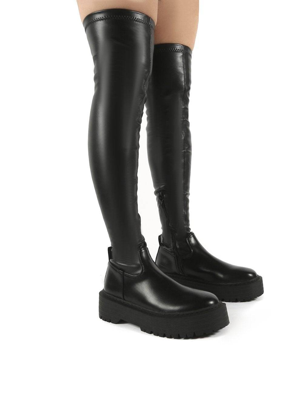 Public Desire US Charly Black Pu Chunky Sole Over The Knee Boots - US 7