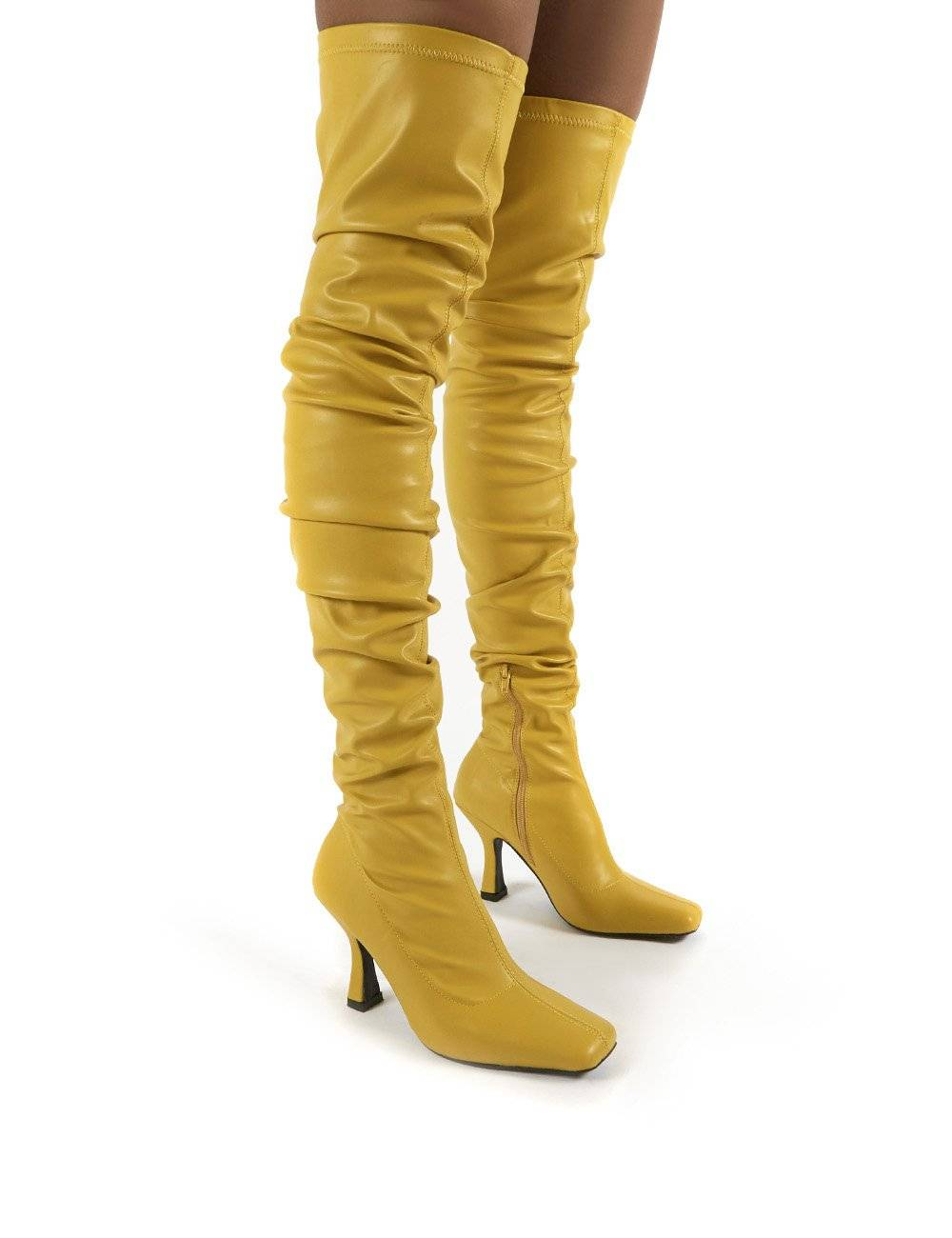 Public Desire US Outlaw Mustard Ruched Over The Knee Heeled Boots - US 5