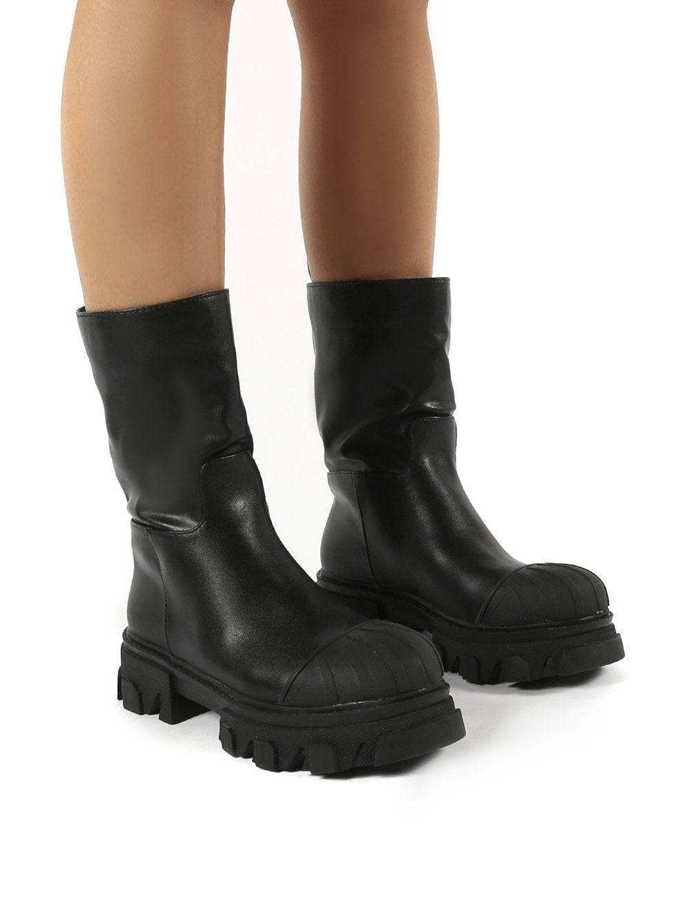 Public Desire US Showdown Black Calf High Chunky Sole Boots - US 11