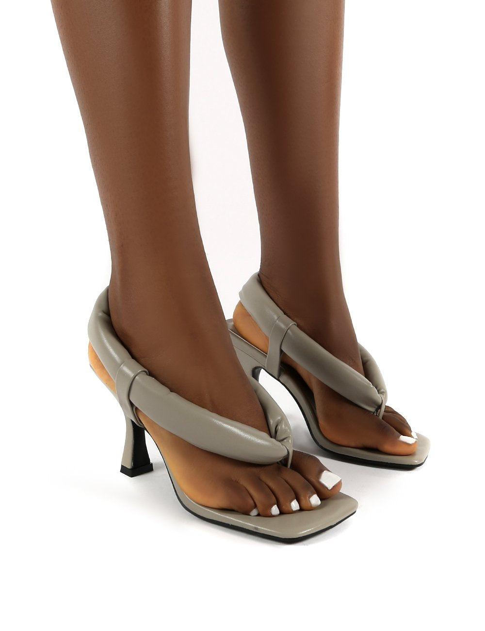 Public Desire US Alina Grey PU Square Toe Padded Toe Thong Heels - US 7