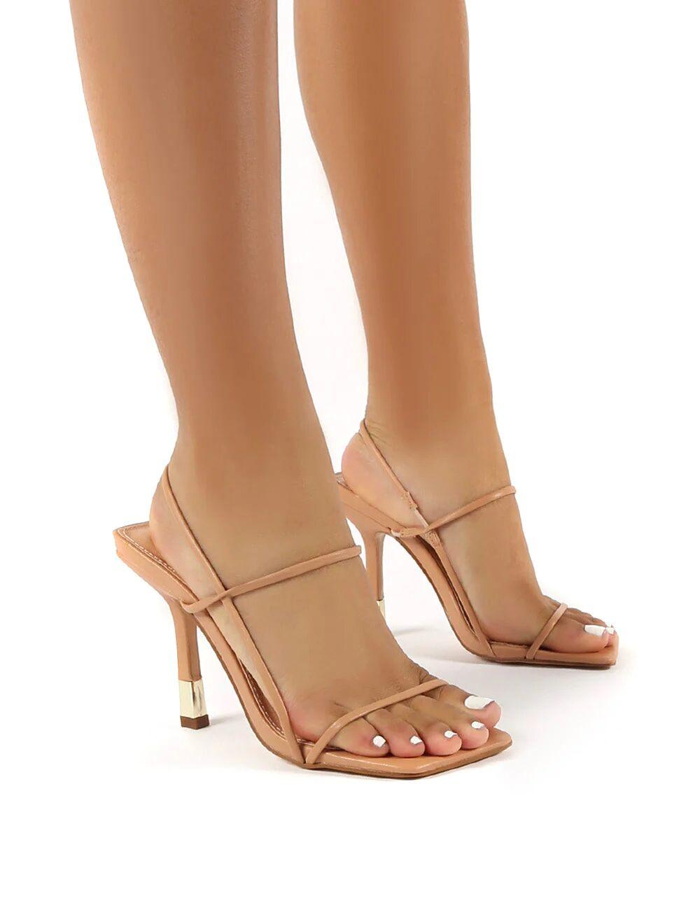 Public Desire US Rayelle Nude Square Toe Strappy Gold Heels - US 8