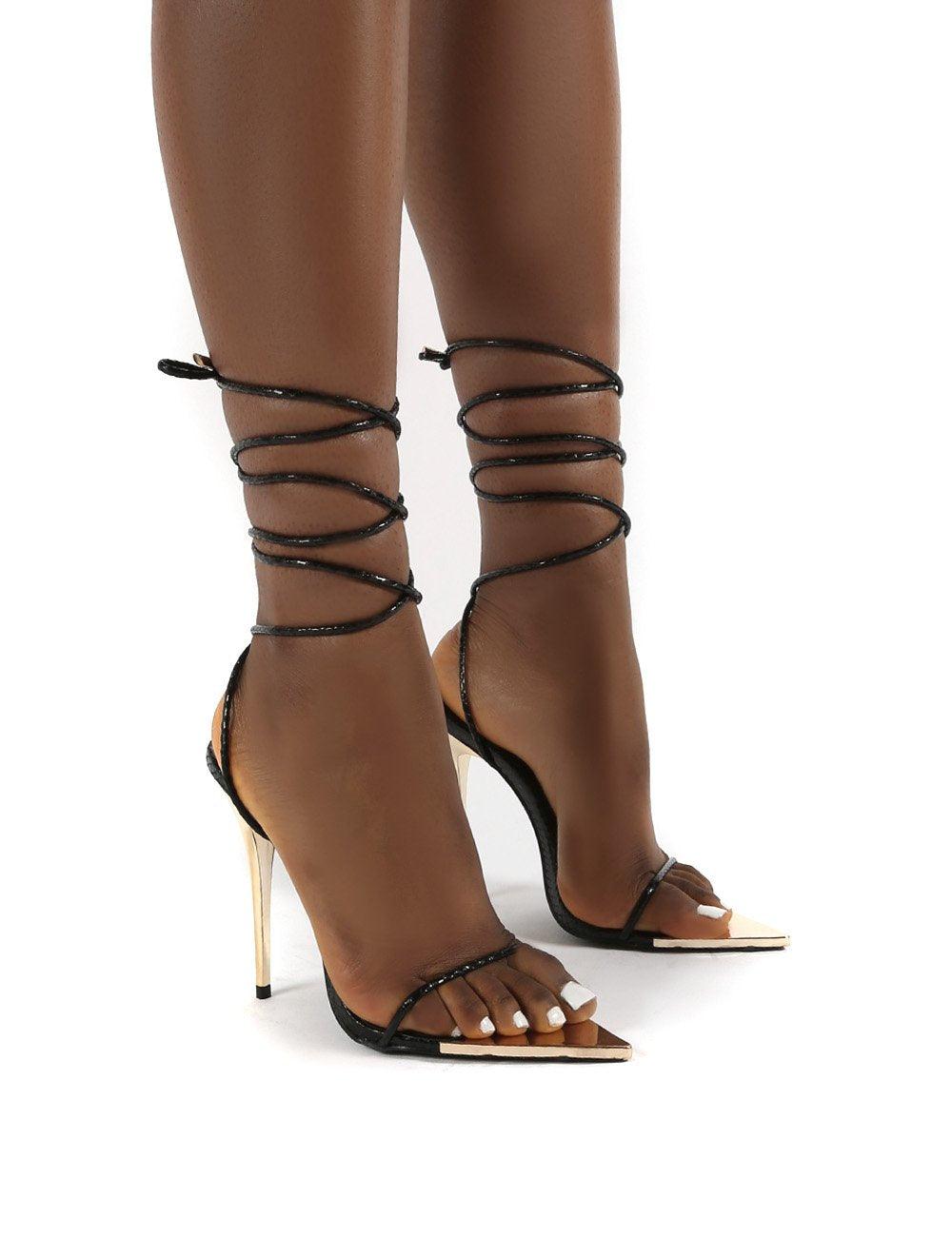 Public Desire US Influenced Black Wrap Around Leg Court High Heels - US 7