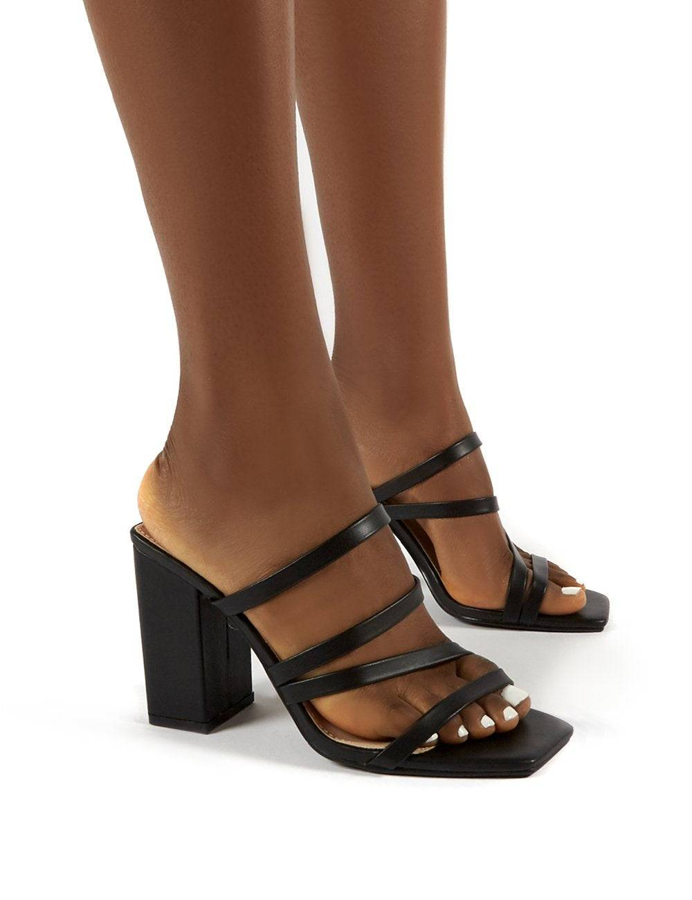 Public Desire US Kalia Wide Fit Black Block Heel Strappy Mules - US 6
