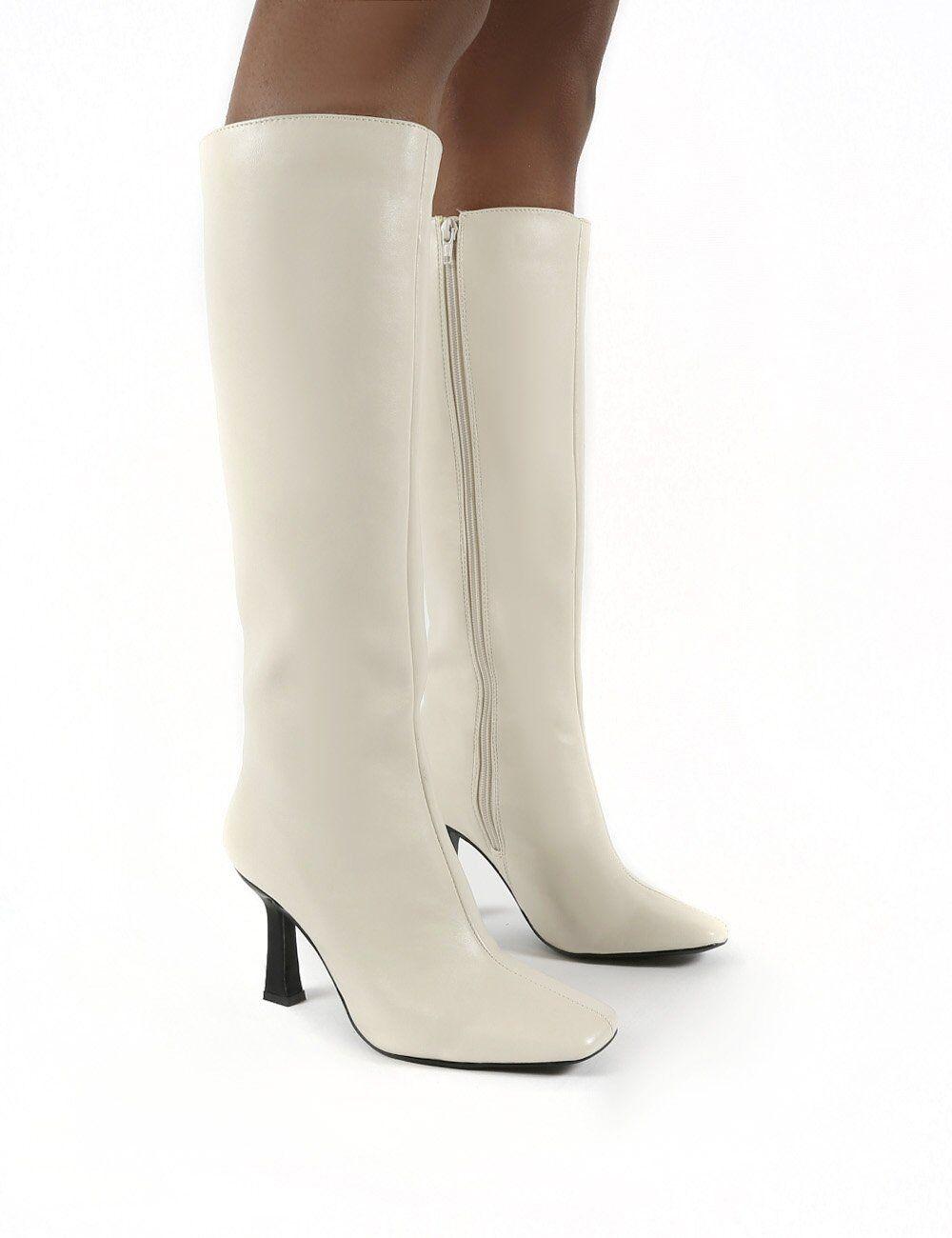 Public Desire US Repeat Bone Pu Heeled Knee High Boots - US 8
