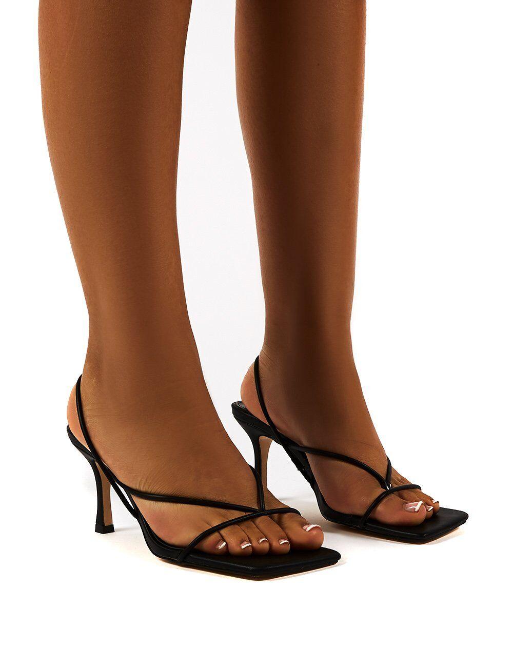 Public Desire USA Annika Black Wide Fit Strappy Heels - US 8