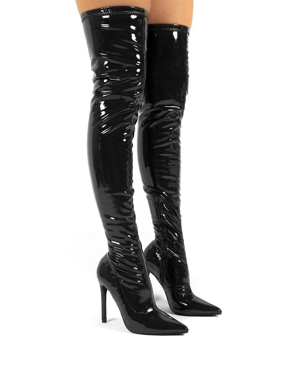Public Desire US Confidence Wide Fit Black Patent Heeled Over The Knee PU Boot - US 5