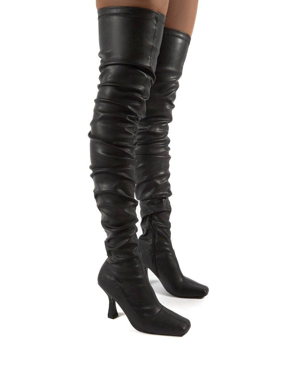 Public Desire US Outlaw Black Ruched Over The Knee Heeled Boots - US 5