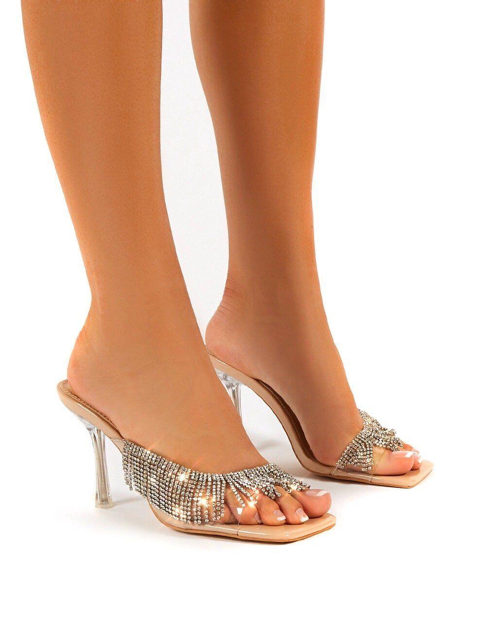 Public Desire US Shimmer Nude Diamante Tassel Square Toe Perspex Mules Sandals Heels - US 6
