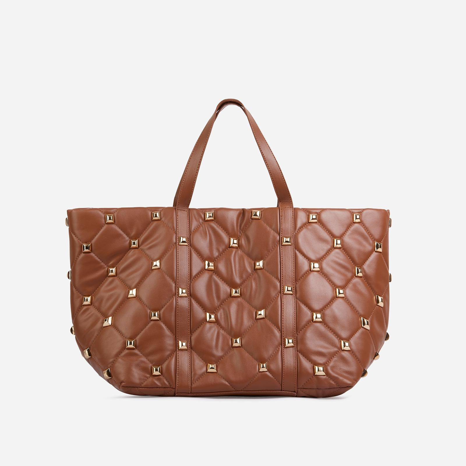 EGO Kym Studded Detail Oversized Tote Bag In Tan Brown Faux Leather,, Brown  - female - Size: One Size