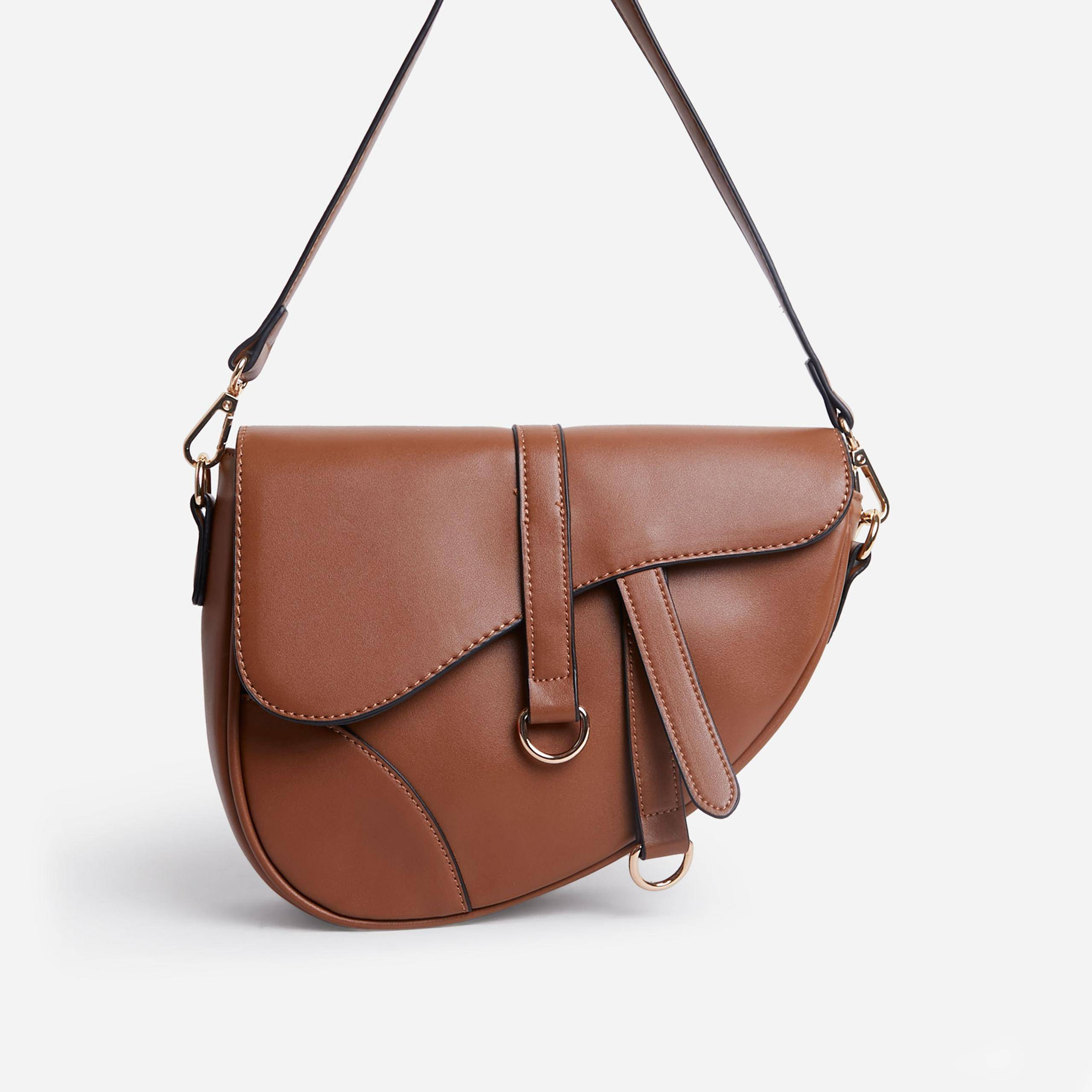 EGO Issy Curved Cross Body Saddle Bag In Tan Brown Faux Leather,, Brown  - female - Size: One Size