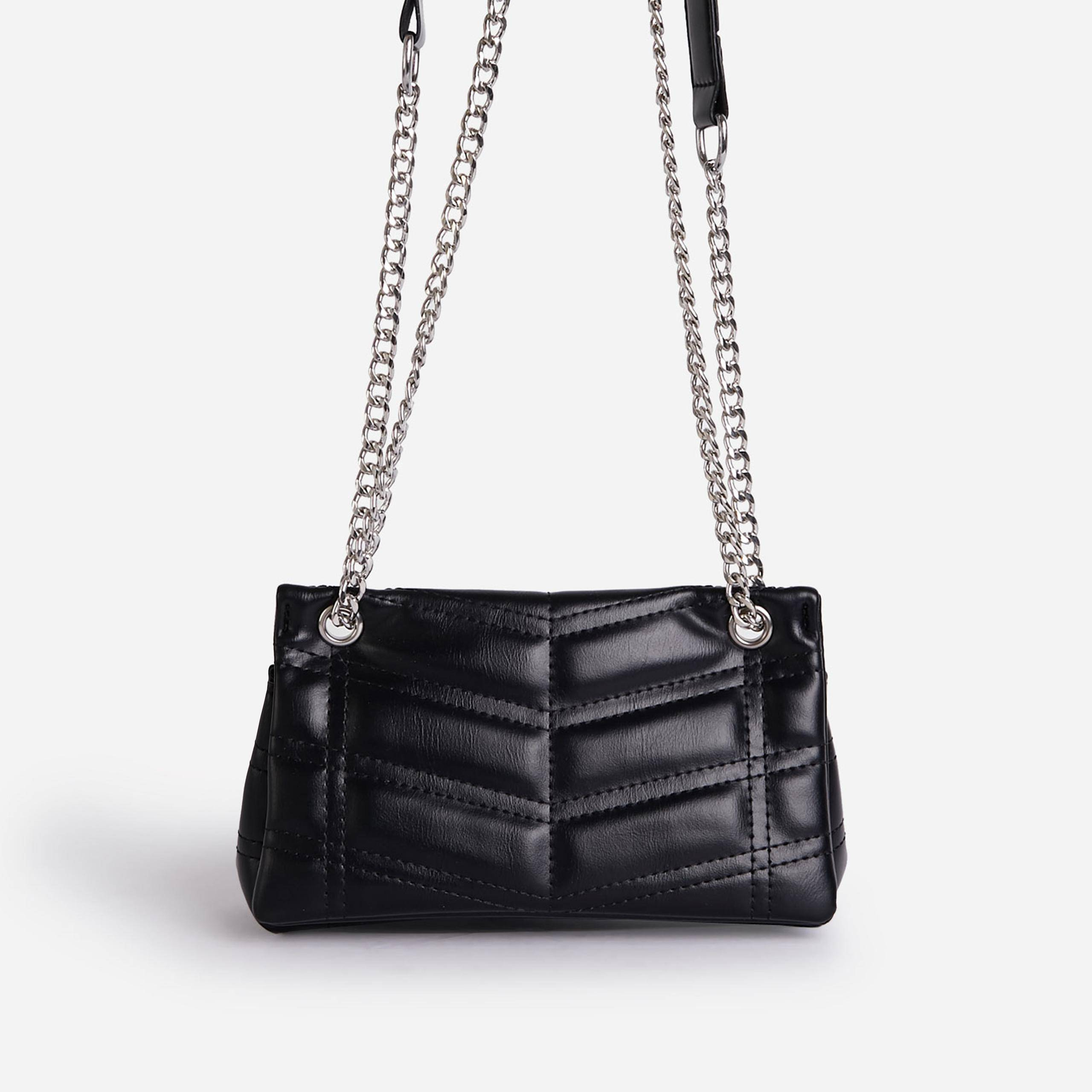 EGO Paddy Chain Strap Quilted Shoulder Bag In Black Faux Leather,, Black  - female - Size: One Size