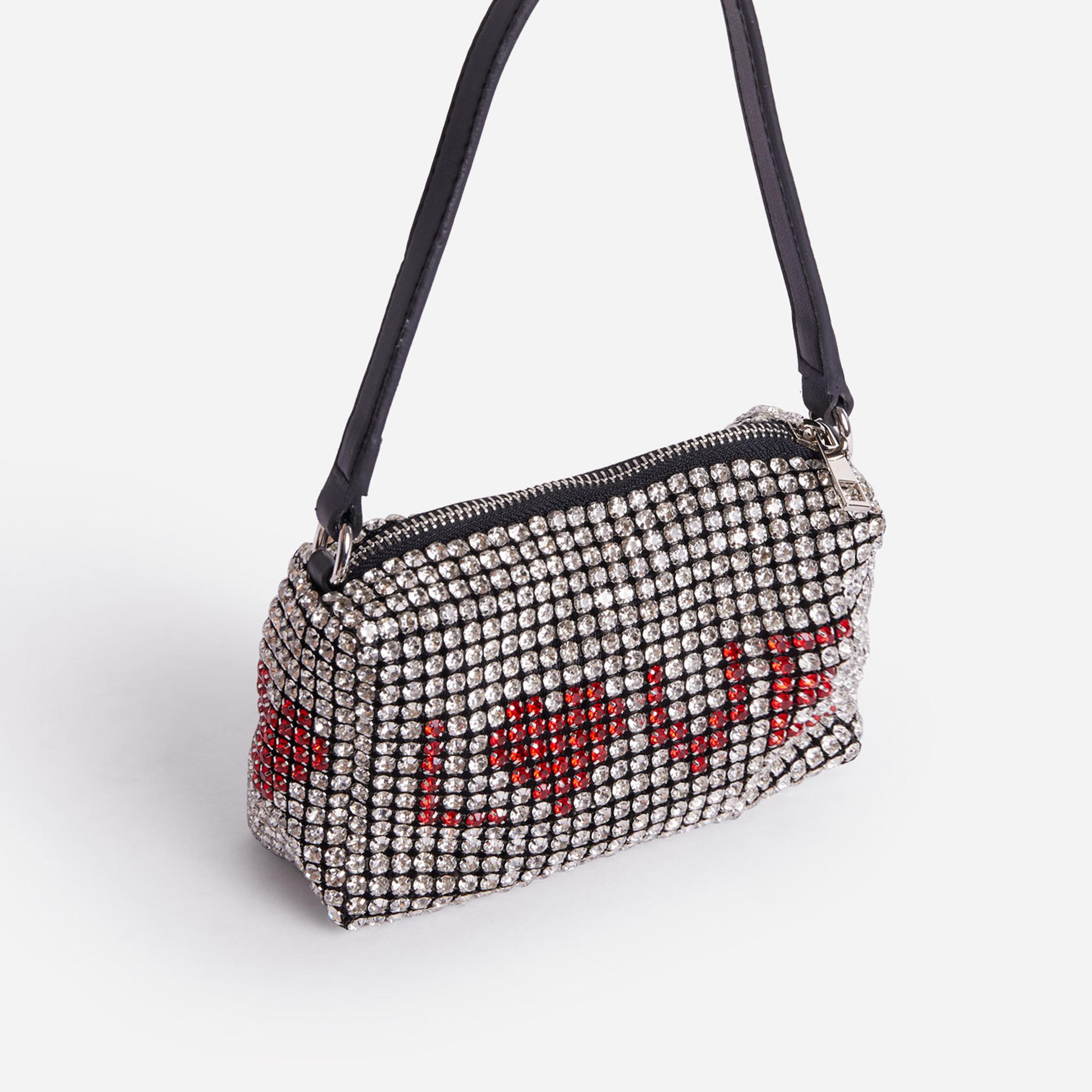EGO Glitterball Love Slogan Bag In Silver Diamante,, Silver  - female - Size: One Size