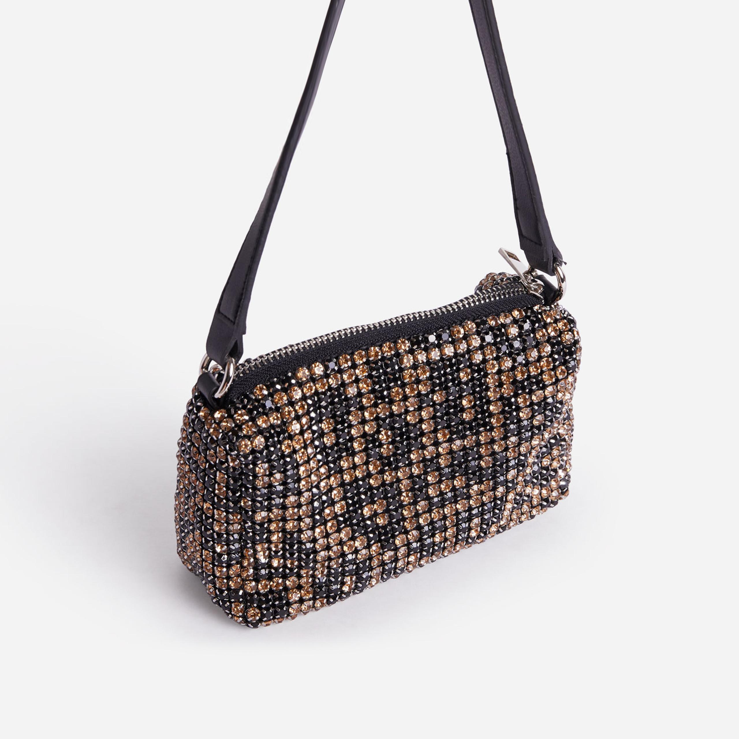 EGO Glitterball Shoulder Bag In Leopard Print Diamante,, Brown  - female - Size: One Size
