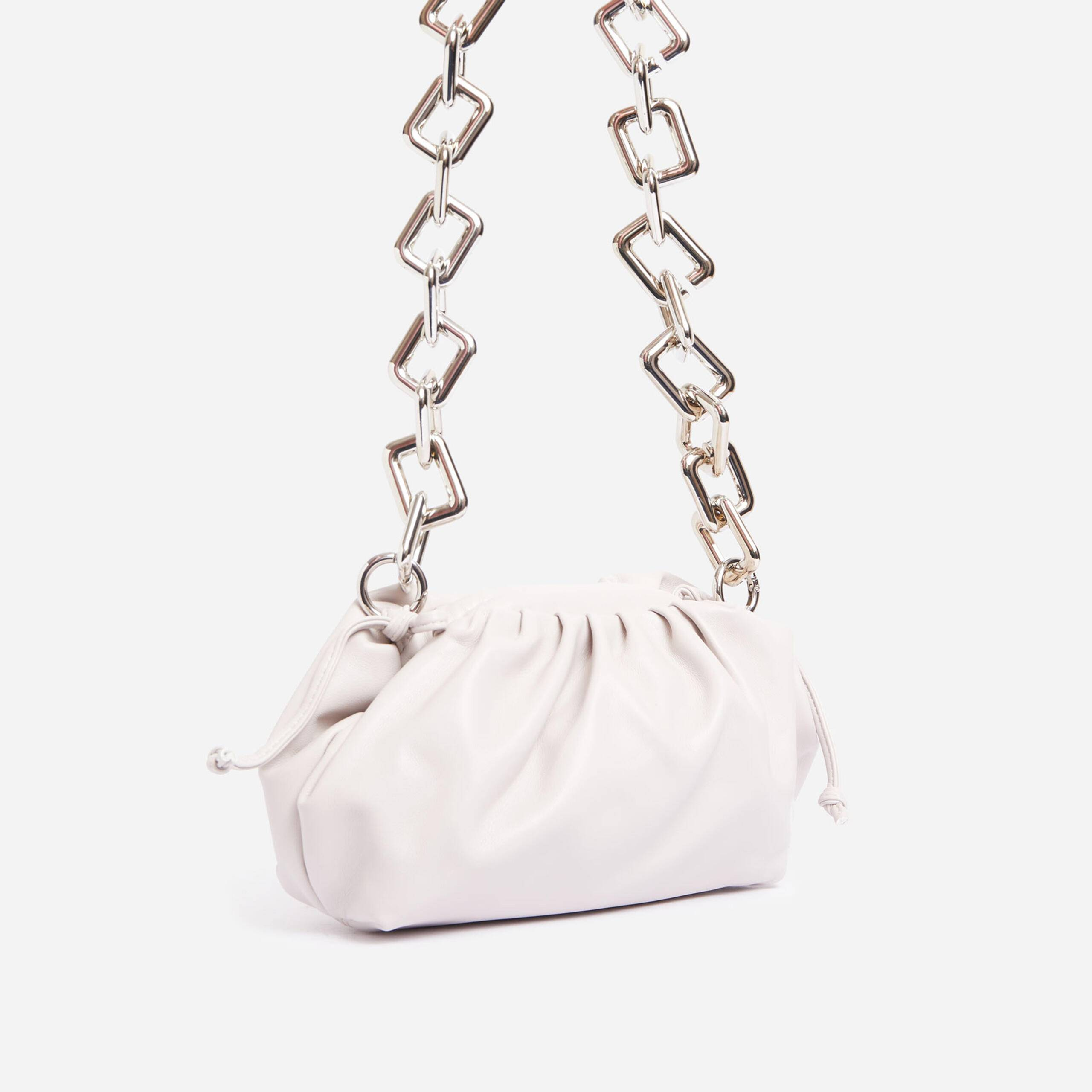 EGO Tia Chunky Chain Pouch Bag In White Faux Leather,, White  - female - Size: One Size