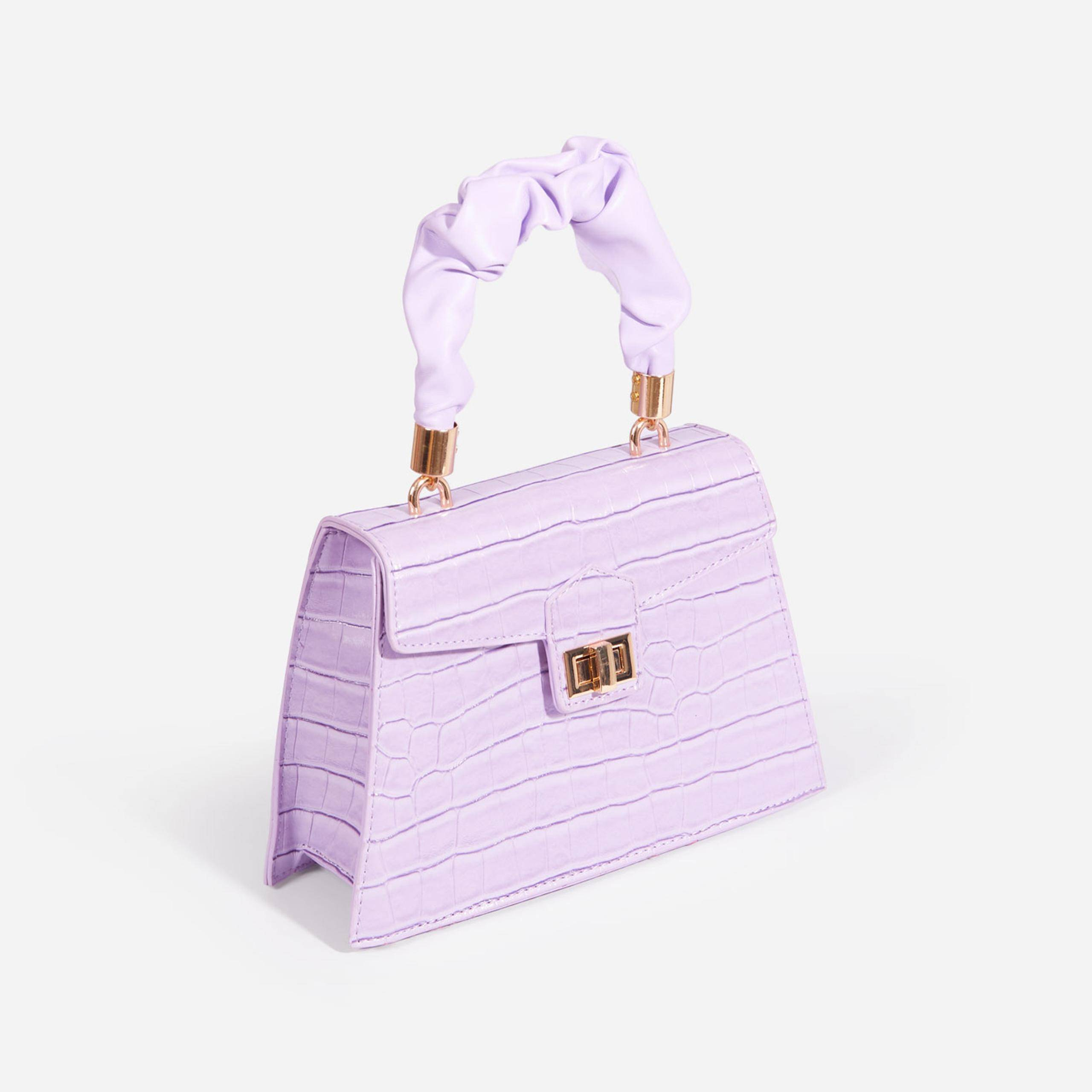 EGO Margo Ruched Handle Detail Box Bag In Lilac Croc Print Faux Leather,, Purple  - female - Size: One Size