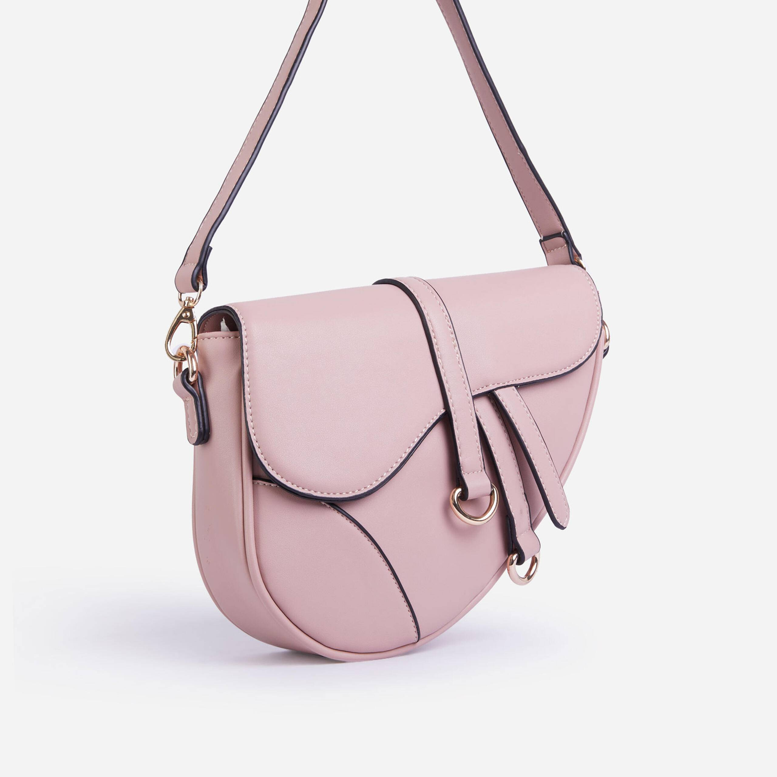 EGO Issy Curved Cross Body Saddle Bag In Pink Faux Leather,, Pink  - female - Size: One Size