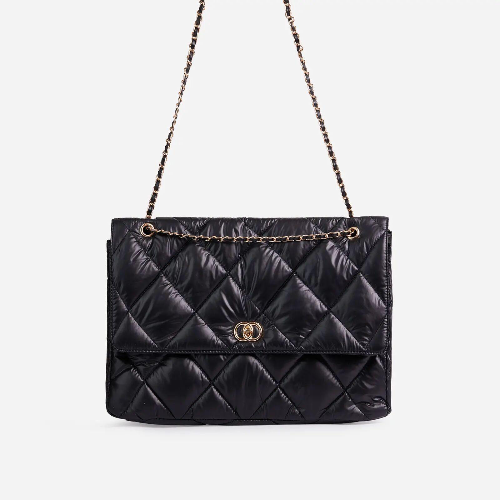 EGO Aloe Oversized Quilted Puffa Shoulder Bag In Black Nylon,, Black  - female - Size: One Size