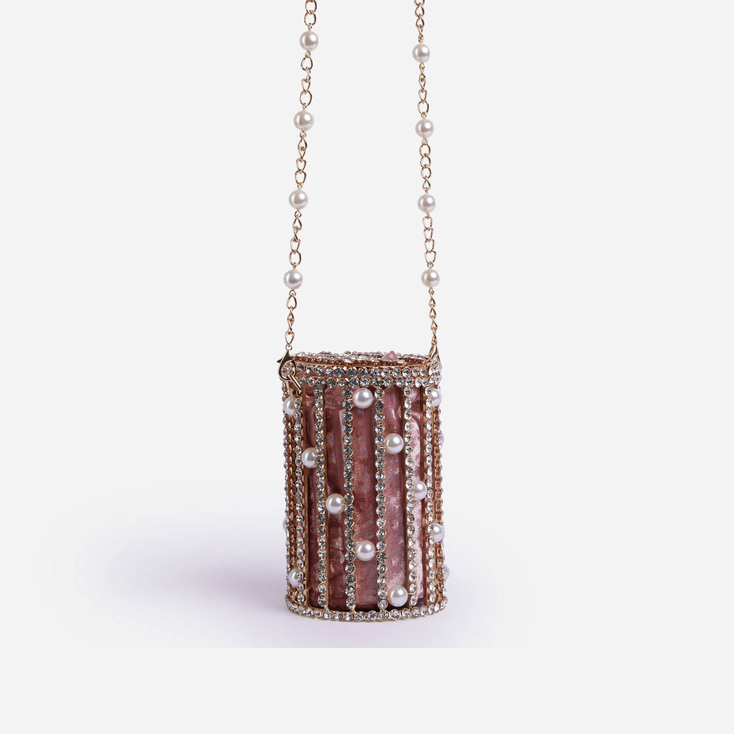 EGO Perry Diamante & Pearl Detail Cylinder Bag In Pink,, Pink  - female - Size: One Size