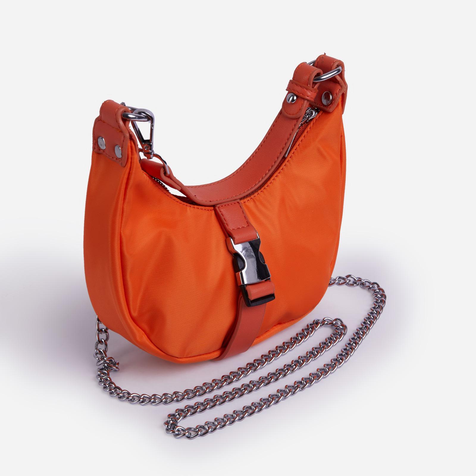 EGO Cyrus Buckle & Chain Detail Shoulder Bag in Orange Nylon,, Orange  - female - Size: One Size