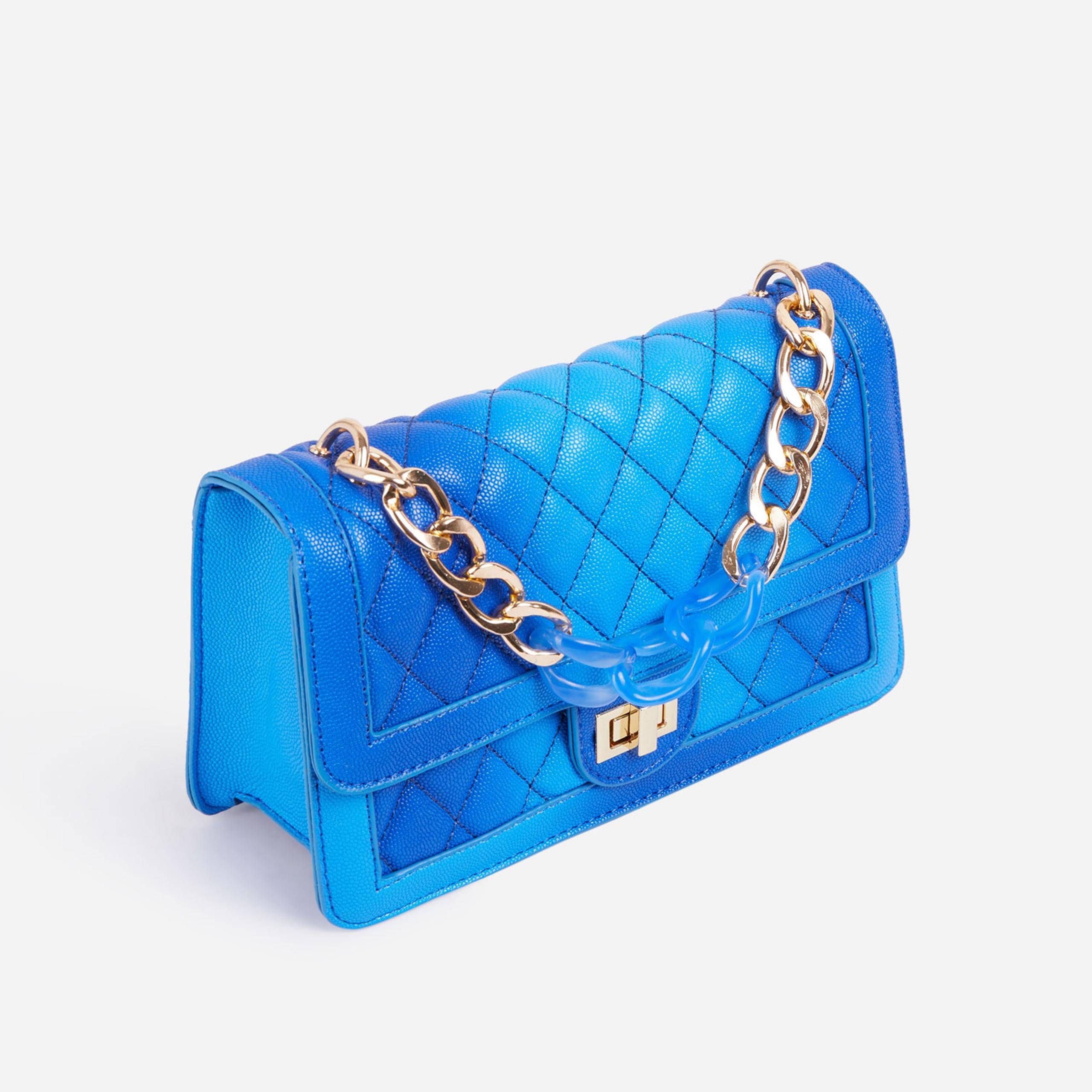 EGO Upton Contrast Chain Quilted Cross Body Bag In Blue Faux Leather,, Blue  - female - Size: One Size