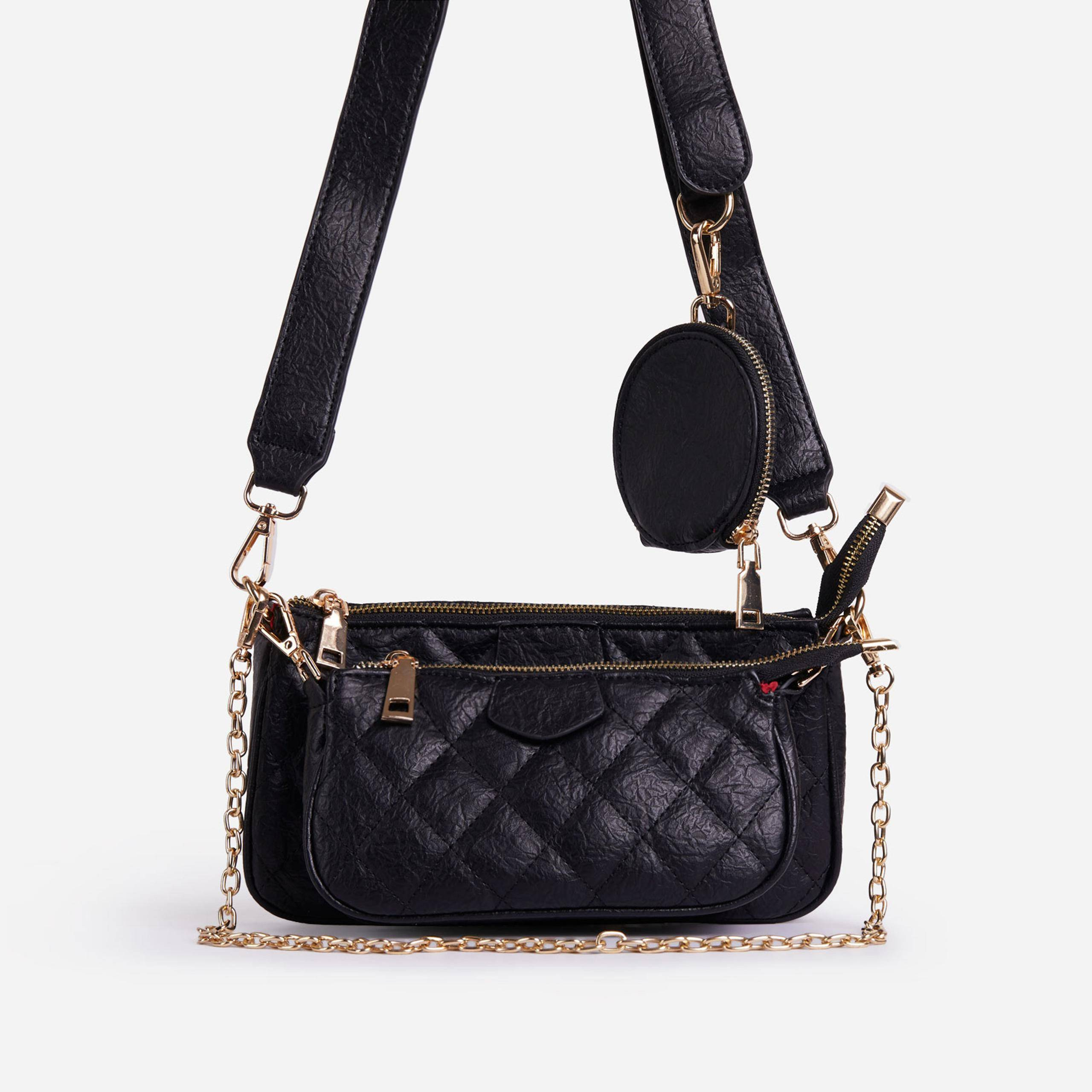 EGO Tati Quilted Purse And Chain Detail Cross Body Bag In Black Faux Leather,, Black  - female - Size: One Size