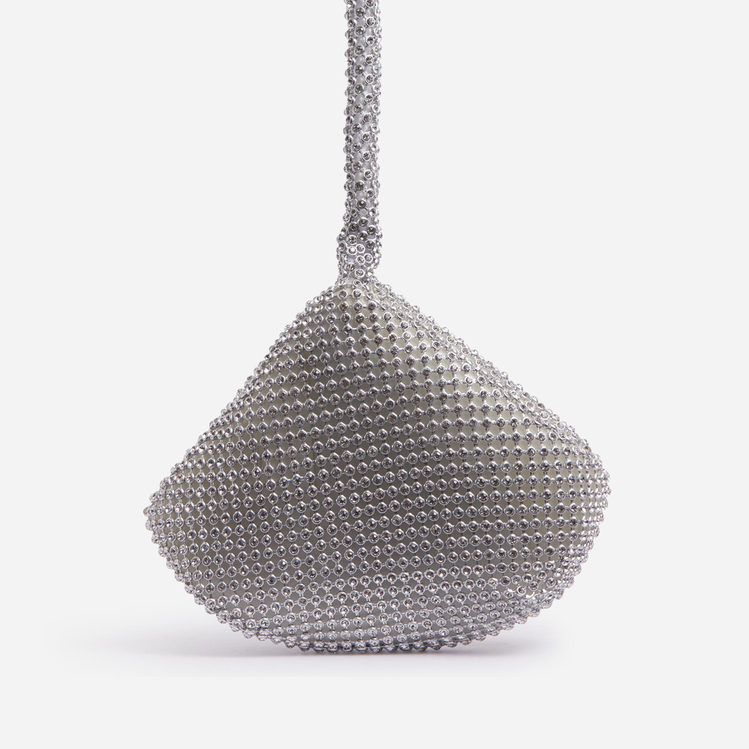EGO Mini Pyramid Grab Bag In Silver Diamante,, Silver  - female - Size: One Size