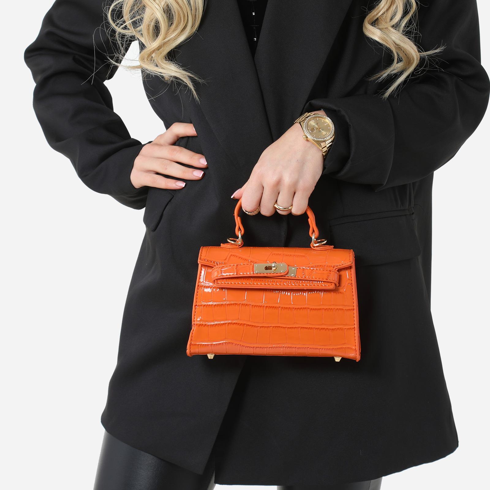 EGO Lock Detail Mini Tote Bag In Orange Croc Print Patent,, Orange  - female - Size: One Size