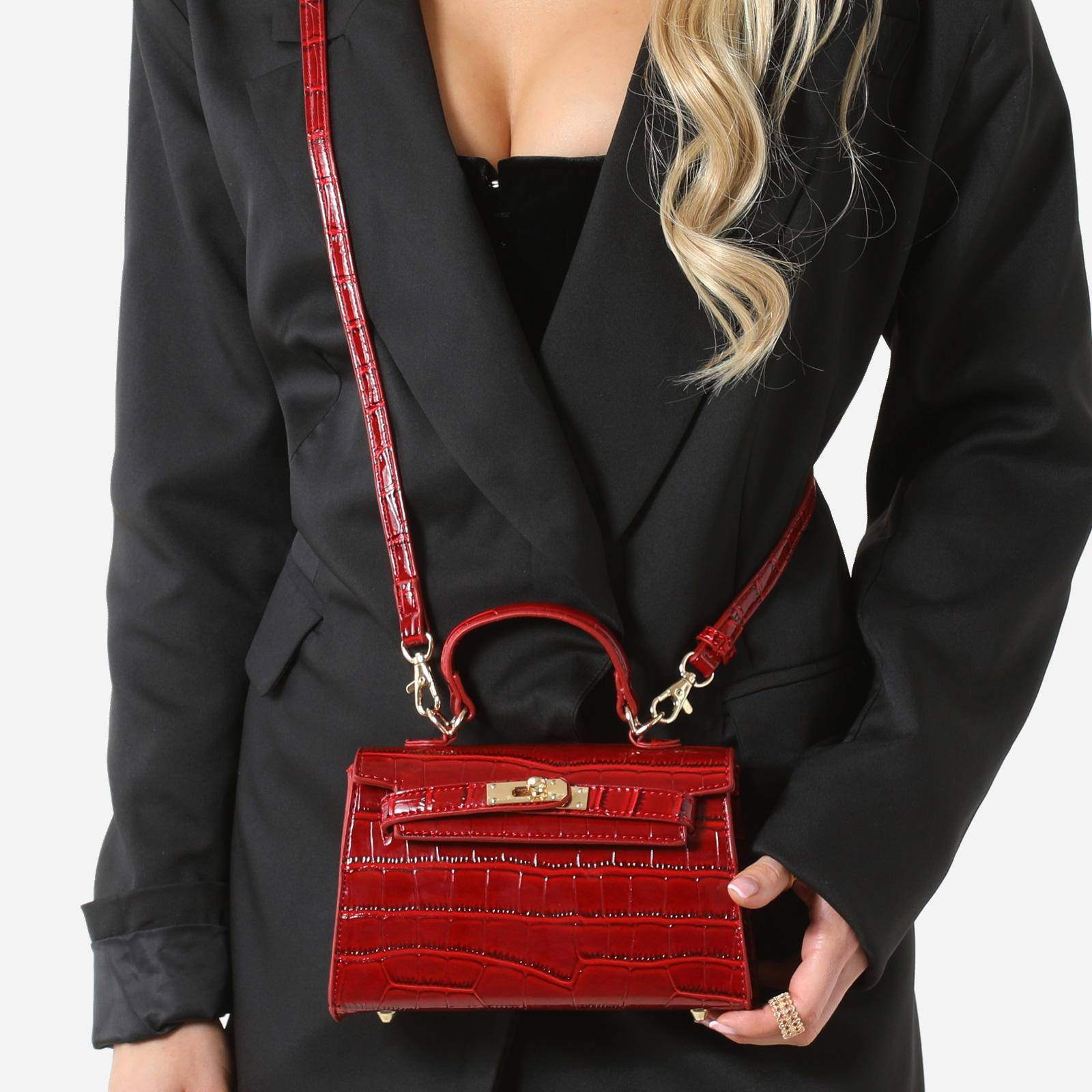 EGO Lock Detail Mini Tote Bag In Red Croc Print Patent,, Red  - female - Size: One Size