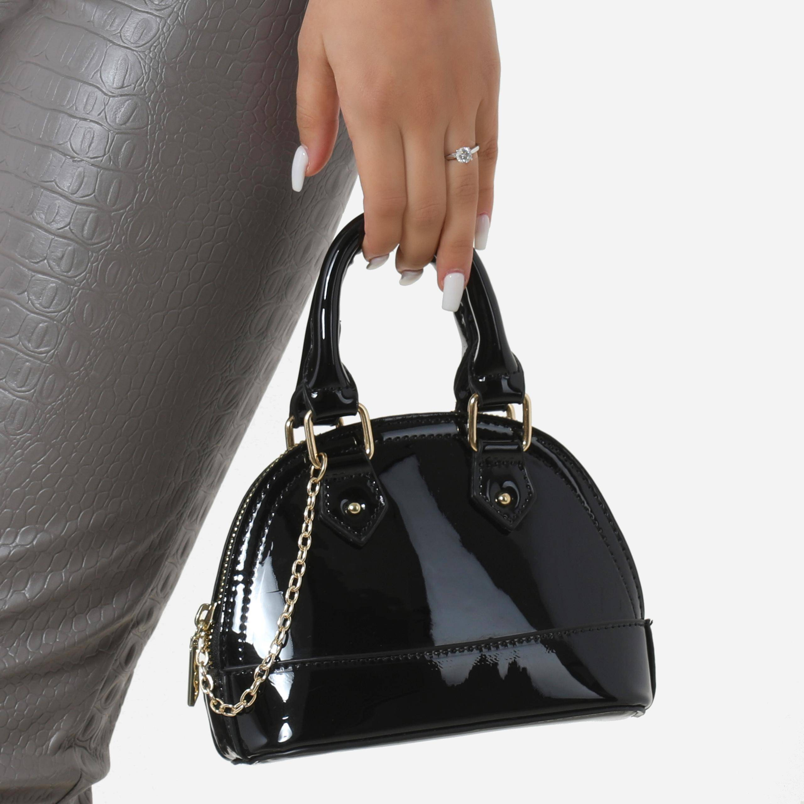 EGO Chain Detail Grab Bag In Black Patent,, Black  - female - Size: One Size
