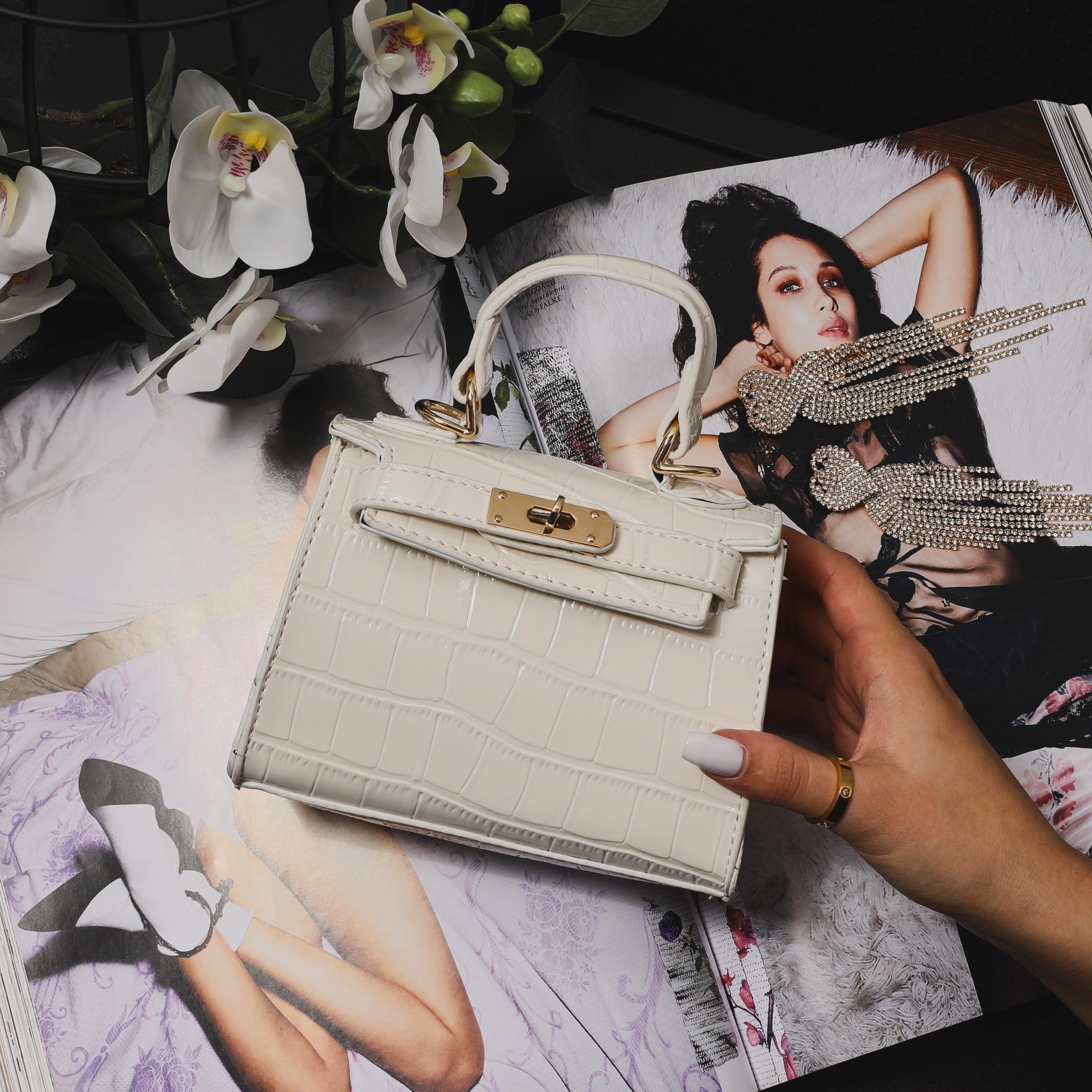 EGO Lock Detail Mini Bag In White Croc Print Patent,, White  - female - Size: One Size