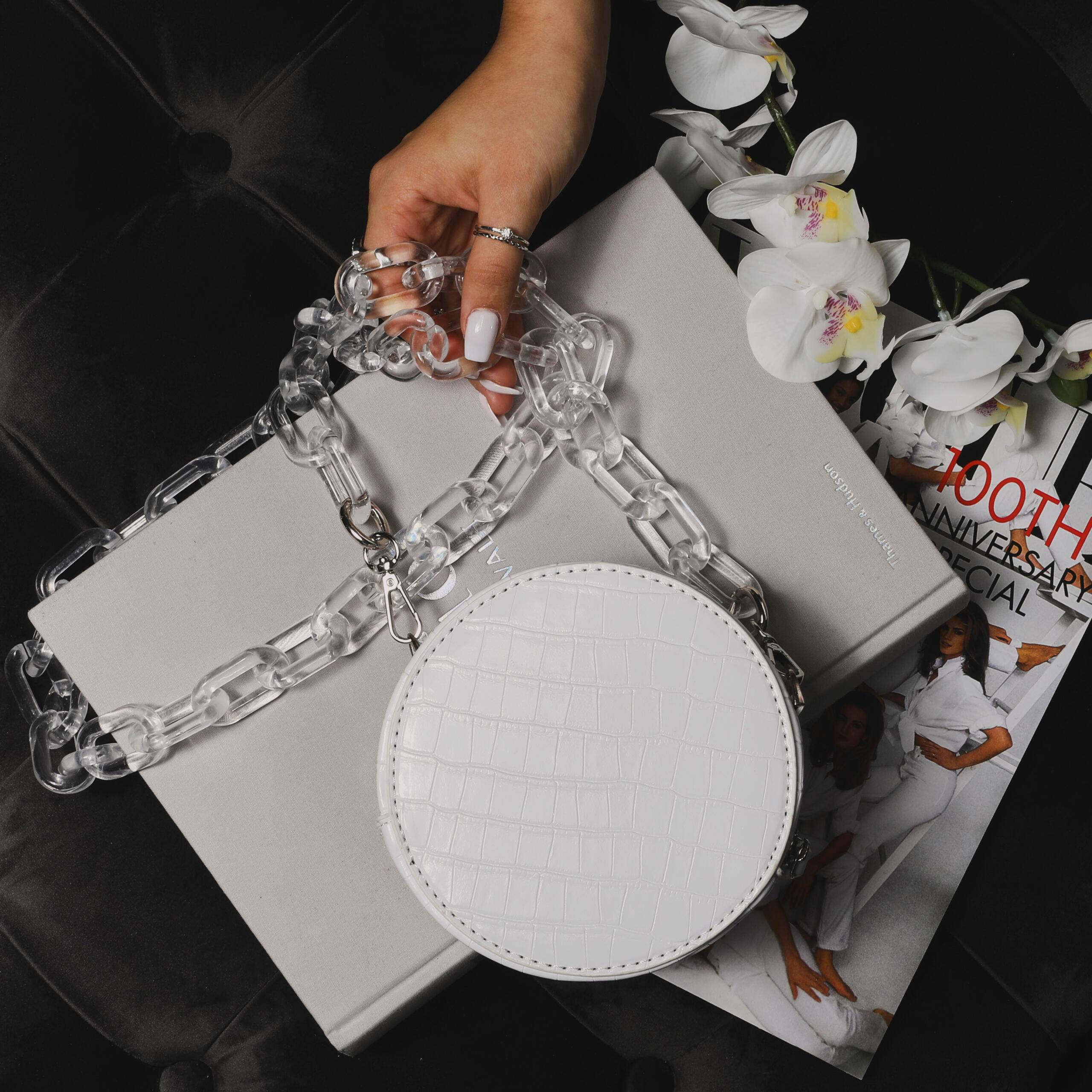 EGO Chunky Chain Circle Cross Body Bag In White Croc Print Faux Leather,, White  - female - Size: One Size