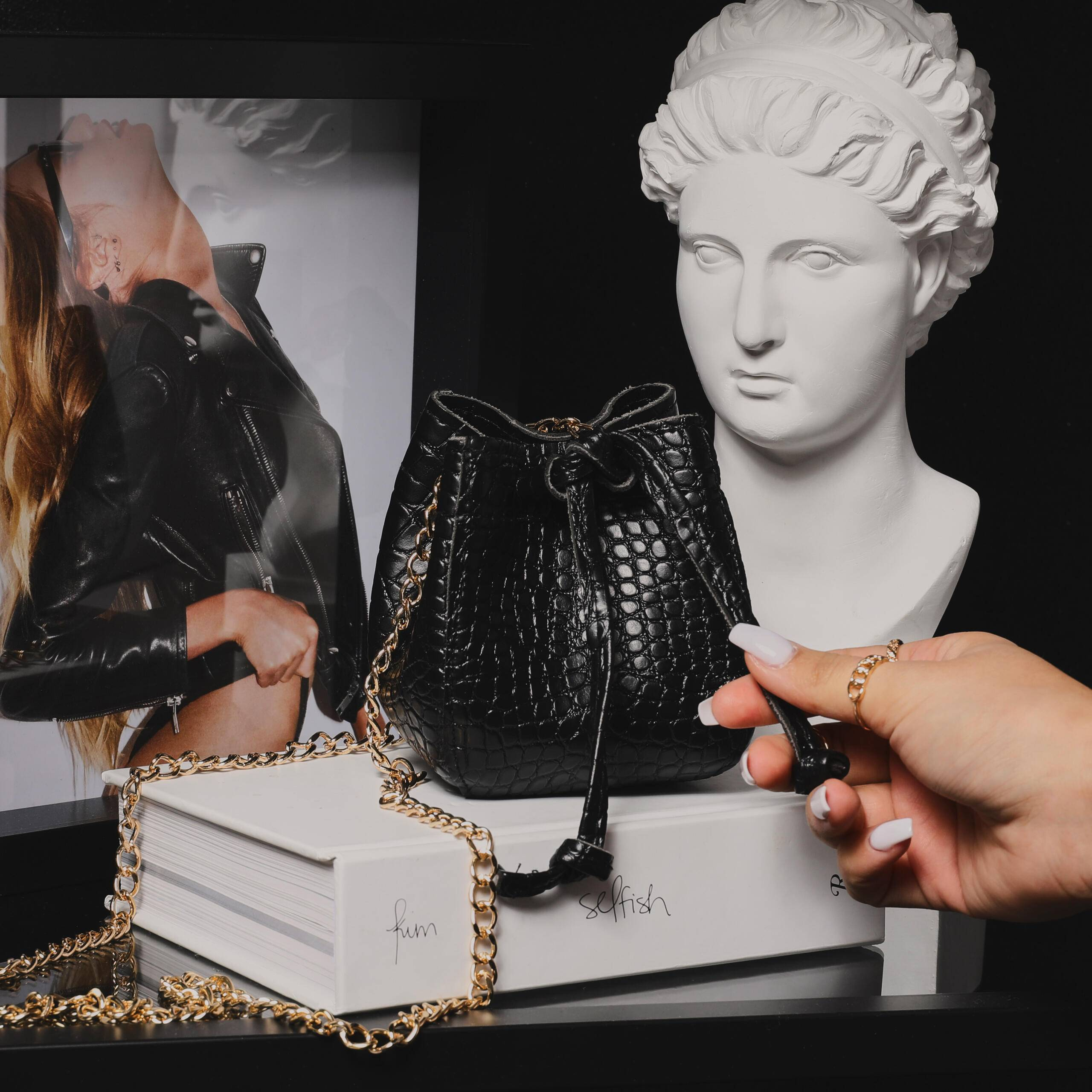 EGO Mini Crossbody Bucket Bag In Black Croc Print Faux Leather,, Black  - female - Size: One Size