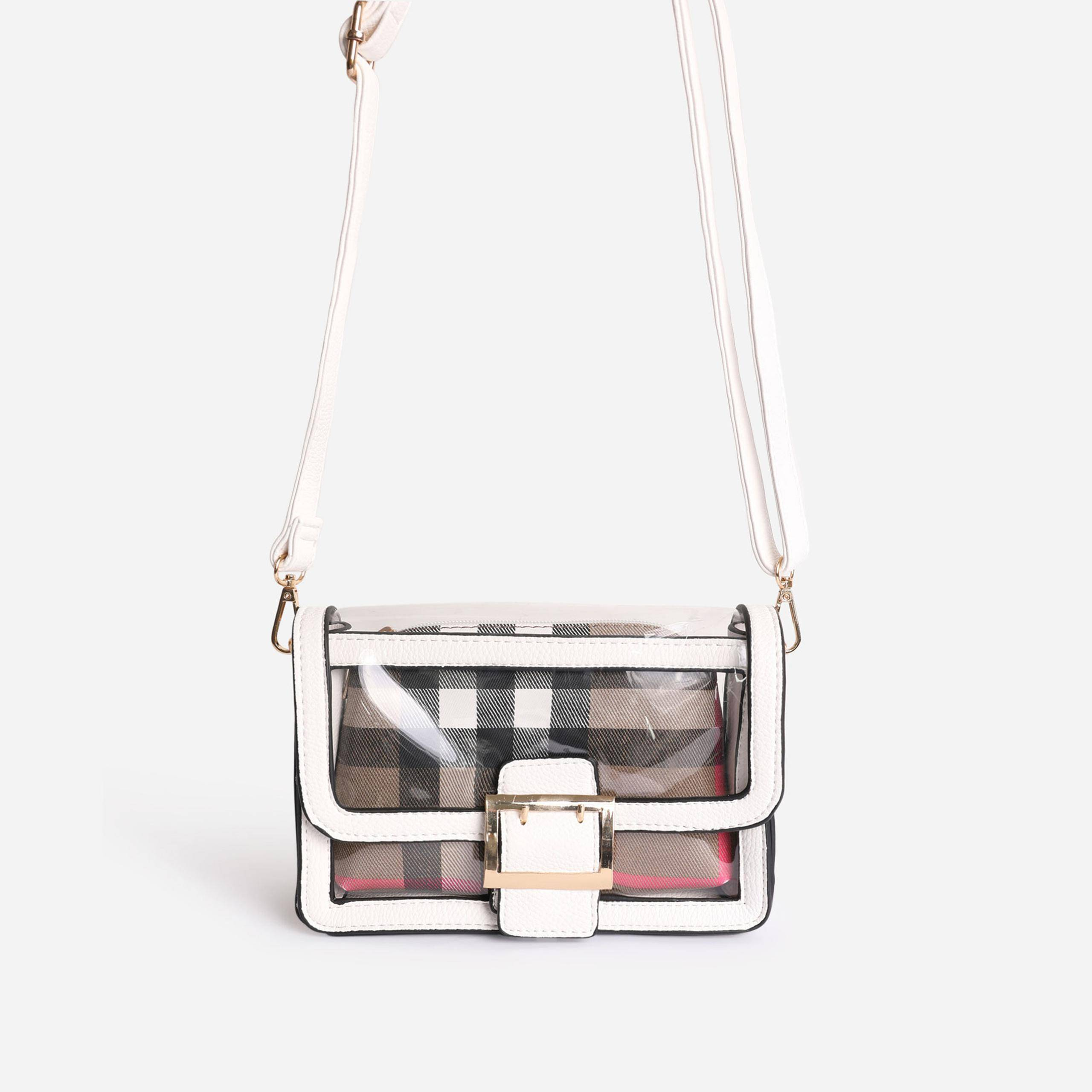 EGO Check Print Detail Perspex Cross Body Bag in White Faux Leather,, White  - female - Size: One Size