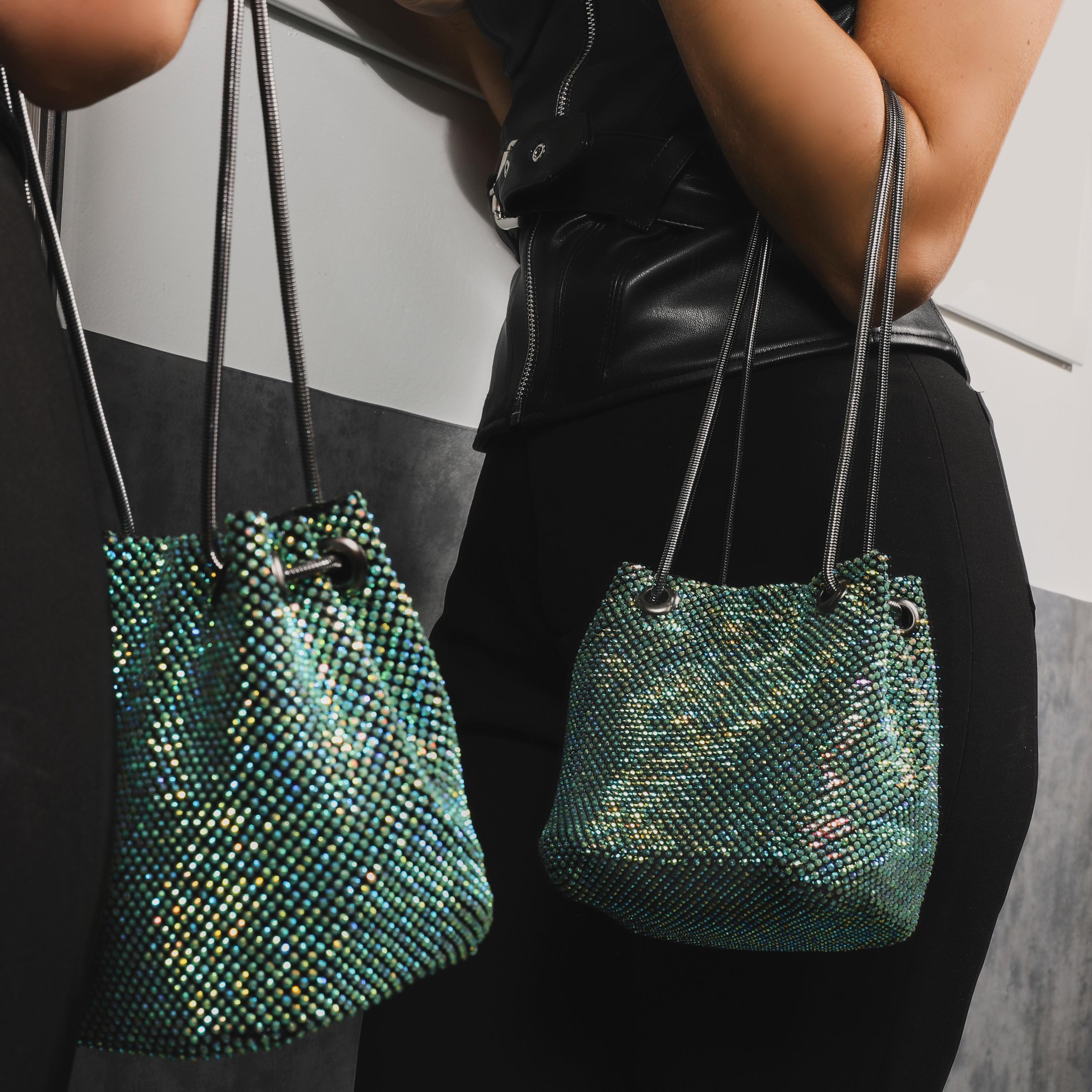 EGO Cross Body  Bucket Bag In Green Diamante,, Green  - female - Size: One Size